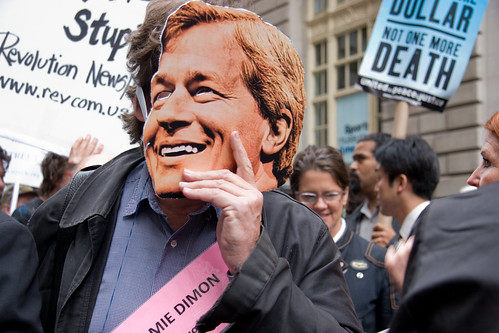 Jamie Dimon Mask at Bailout Protest | by Lindsay Beyerstein