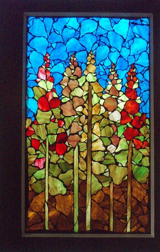 HOLLYHOCKS   This window has sold. | by Glassjan - Mosaic Art