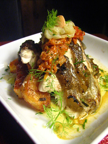 Grilled Rainbow Trout with Romesco-esque Sauce and Fennel and Onion Relish | by SeppySills