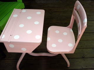 Pink Polka Dotted Vintage School Desk | by niftythriftygirl