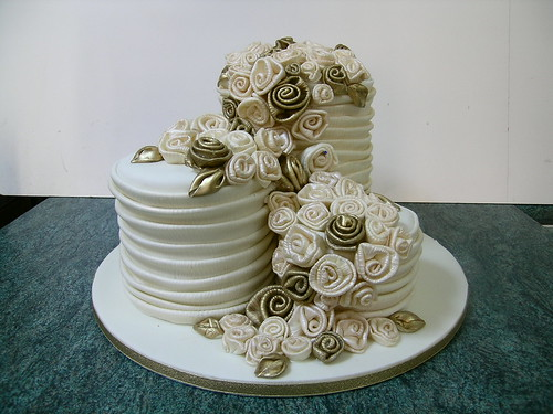 Wedding cake and fabric roses | by a matter of taste