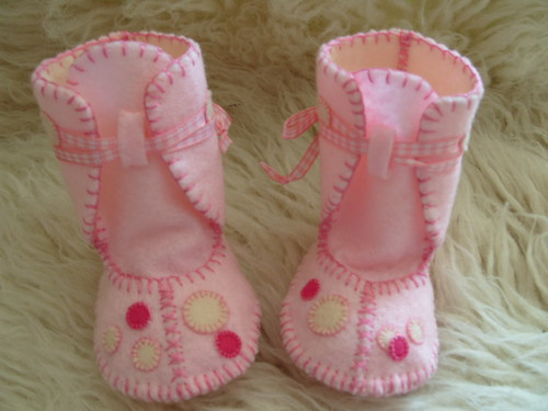 Pink Baby Booties Cake Toppers