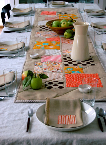 Thanksgiving Table Appliqued Quilted Runner + Fringed Napkins | by the purl bee