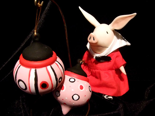 Olivia the pig inspired black white pink and red ornaments ...