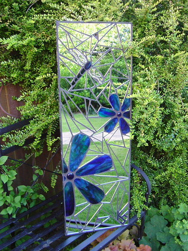 Flowers dragonfly mosaic garden mirror 31 x 92cm 1 for Garden mosaic designs