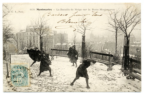 Snowball Fighting In Paris (1905) | by postaletrice
