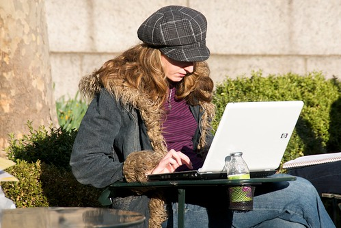 One of the rare non-Apple laptops seen in an otherwise cool park full of cool people | by Ed Yourdon