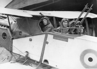 Major Syd Addison and Lieutenant Hudson Fysh in a Bristol Fighter aircraft | by Australian War Memorial collection
