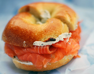 Norwegian Smoked Salmon and Caviar Cream Cheese on a Plain Bagel | by gtrwndr87