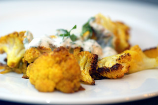 roasted cauliflower with indian spices and yogurt dip | by sassyradish
