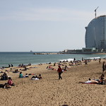Sunny day at the beach in Barcelona