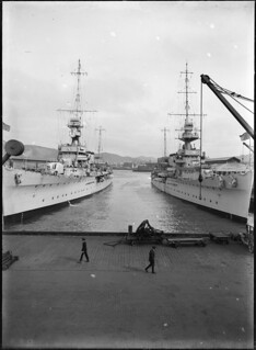 Warships Diomede and Dunedin, berthed in Wellington, ca 1928 | by National Library NZ on The Commons
