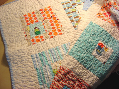 Square in Square Baby Boy Quilt | by alissahcarlton