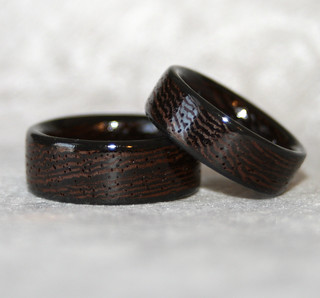 Wenge Wooden Rings with Black Corian Edges | by MnM Woodworks