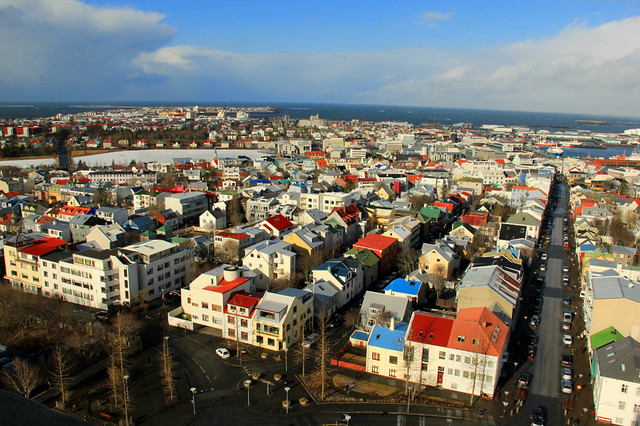 View of Reykjavik from the tower of Hallgrimskirkja