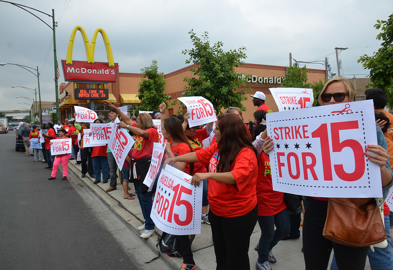 Strike for 15 fast food strike at McDonald's in Chicago July 31, 2013 mc-24