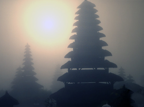 Bali- temple in the fog at sunrise