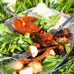 Roasted pork ribs with tomato sauce