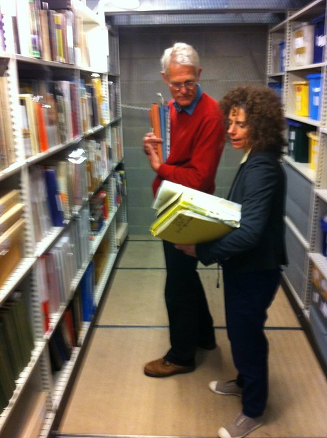 Louise Curham with David Curtis in the Archives, May 2013