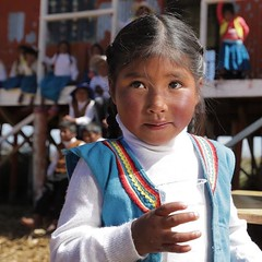 Little Rossi is enjoying her first cup of filtered water thanks to the Kohler Clarity filters Operation Blessing put in every classroom at her school.   The school is located on the Ccapi Urus floating islands on Lake Titicaca - a 1.5 hour boat ride from