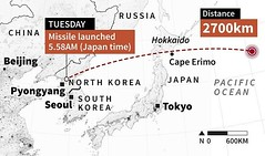 North Korea launches missile over Japan  August 29 2017 - 9:46AM  North Korea fired a missile early on Tuesday from near Pyongyang that flew over northern Japan, the South Korean and Japanese governments said.  Public broadcaster NHK reported that the mis