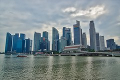 Skyline of the Central Business District (CBD) at Marina Bay in Singapore