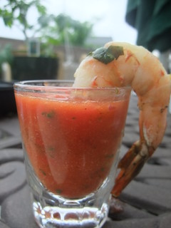 Gazpacho Shooter with Lemon-Basil Grilled Shrimp | by swampkitty