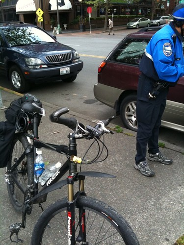 Bike Cop Ticketing Cars | by Hugger Industries