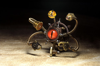 Steampunk Beholder Miniature robot sculpture - Daniel Proulx - Canada . : Steampunk Exhibition at The Museum of the History of Science, The University of Oxford, U.K. | by Catherinette Rings Steampunk