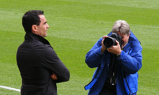 Roberto Martinez is snapped by a photographer, Wigan Athletic vs Hull City, 3 May 2010 | by illarterate