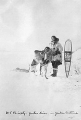 W.E. Priestley in parka with snowshoes and dogs, Yukon River | by UW Digital Collections