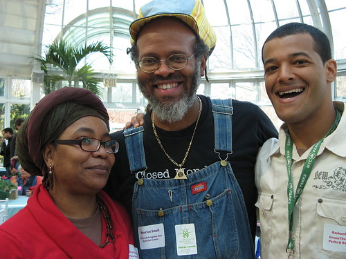 Solita Stephens, keynote speaker Maurice Small, and Rasheed Hislop connect | by Brooklyn Botanic Garden