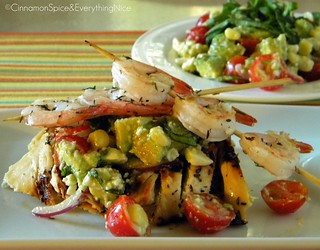 Avocado and Feta Salad with Marinated Grilled Chicken and Shrimp Skewers | by CinnamonKitchn