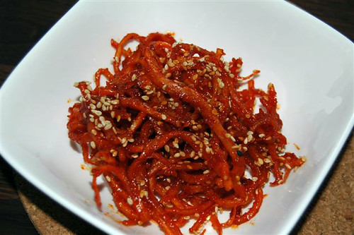 Reinier's  seasoned dried shredded squid (ojingeochae-muchim) | by maangchi