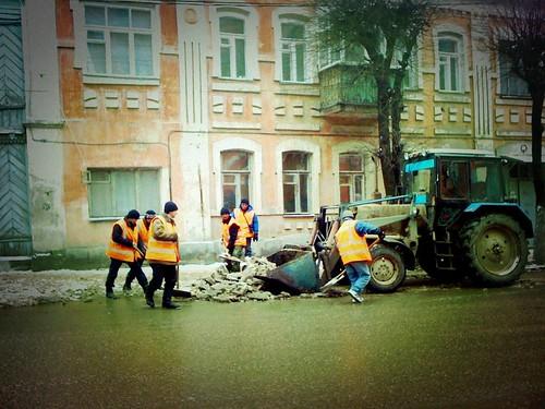 Ограничение движения на Новинском переулке.