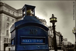 Blue Police Public Call Post, London Piccadilly Circus | by @HotpixUK -Add Me On Ipernity 500px