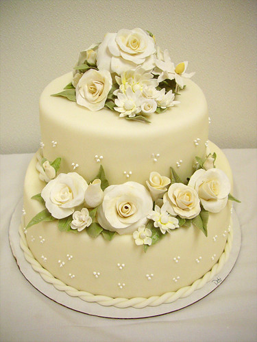 Small Wedding Cake Scratch Made Ivory Fondant Covered