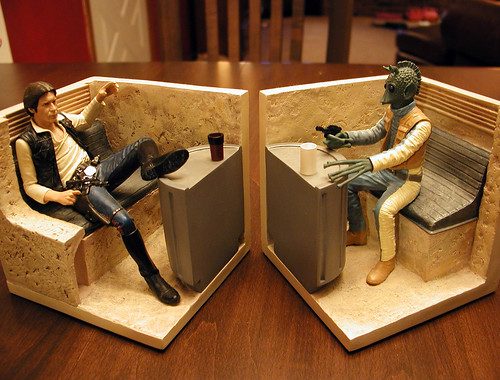 Han and Greedo Bookends Closeup | by blackant