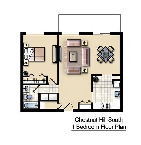 Chestnut Hill Apartments: Chestnut Hill South 1 Bedroom Floor Plan