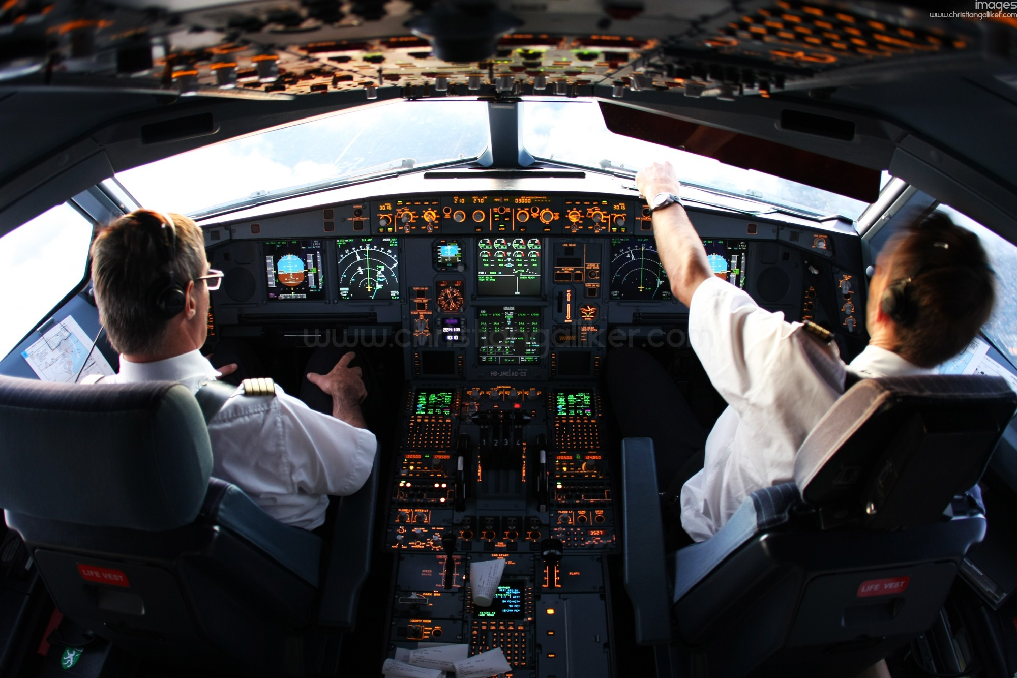 A340 Cockpit Anflug Miami