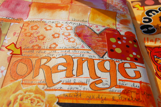 Monochromatic Orange Art Journal Page