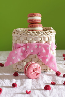 raspberry macarons and basket | by Madison Bistro