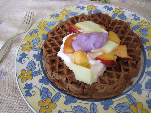 Vegan Chocolate Waffle with Fruit | by veganbackpacker