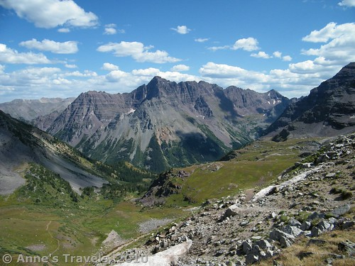 The back side of some of the Maroon Bells from Buckskin Pass, Colorado