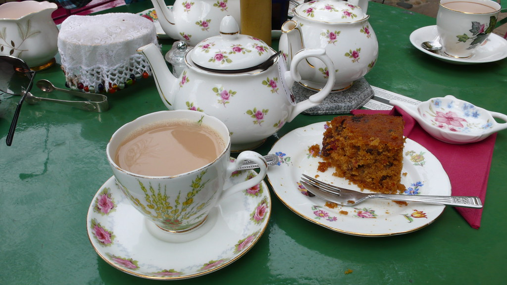 Tea and fruitcake at Peacocks Tearoom in Ely