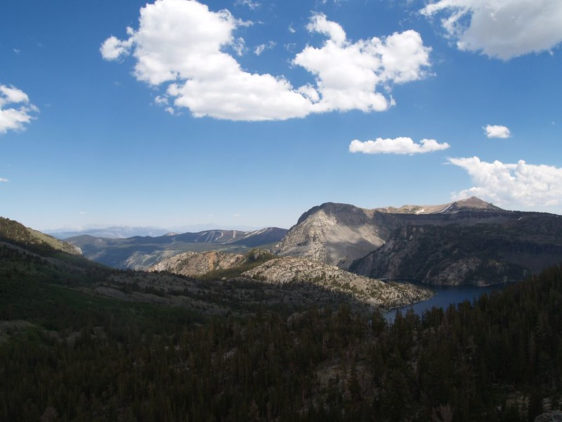June Mountain (left with ski runs visible) and Gem Lake