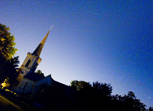 Perseid Meteors over Stanmer Church | by Dominic's pics