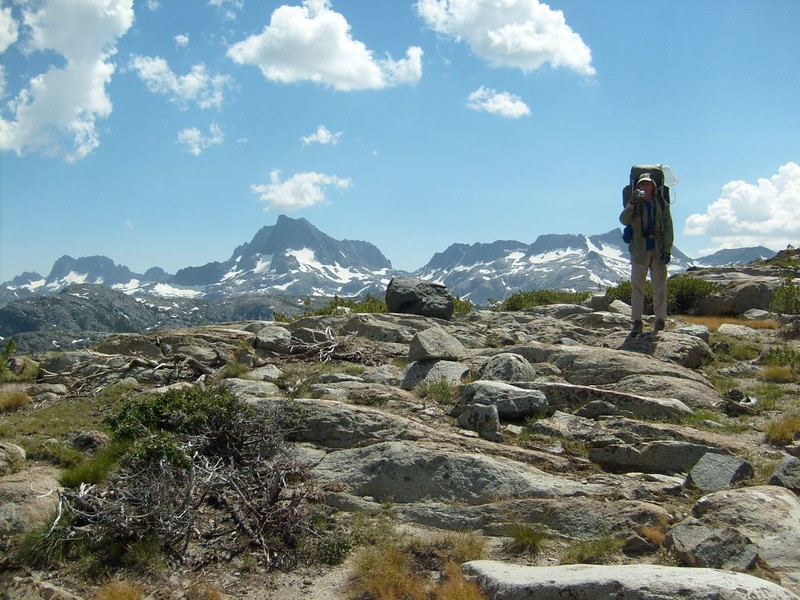 Me on Peak 10462, with views of The Minarets, Banner Peak, Mount Ritter, and Mount Davis