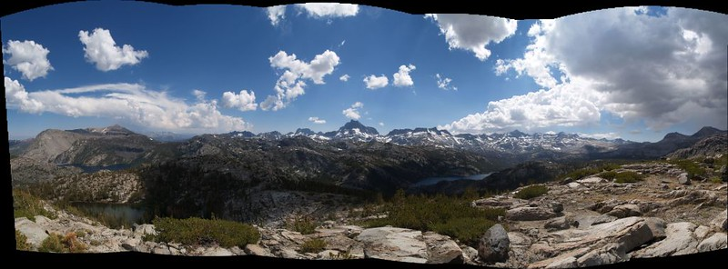 Stitched multi-photo panorama from Peak 10462. Gem Lake, left, and Waugh Lake, right.