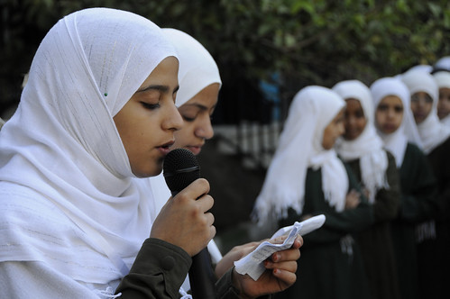 Girls attend morning assembly at the Shaheed Mohamed Motaher Zaid School | by World Bank Photo Collection